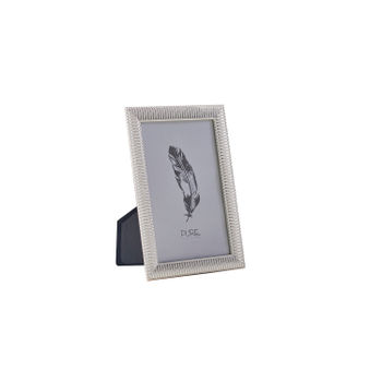 Small Striped Silver Tabletop Frame