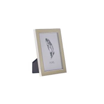 Small Beige Enamelled   Silver Photo Frame