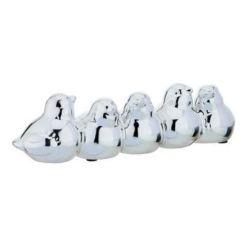 Set of 5 Silver Bird Figurines