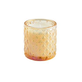 Small Yellow Antique Mohagany Jar Candle