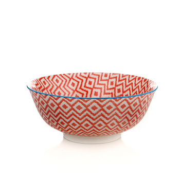 Blue and Red Geometric Print Serving Bowl