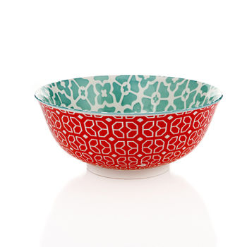 Aqua and Red Floral Print Serving Bowl
