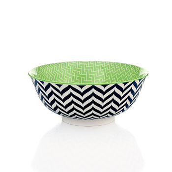 Blue and Green Chevron Print Serving Bowl