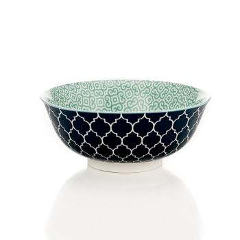 Blue and Green Moroccan Print Serving Bowl