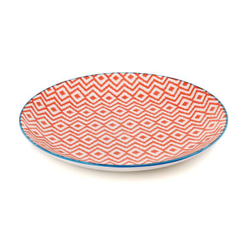 Blue and Red Geometric Print Dinner Plate