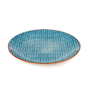 Orange and Blue Geometric Print Dinner Plate