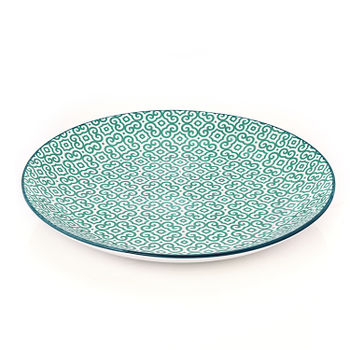Green and Blue Moroccan Print Dinner Plate