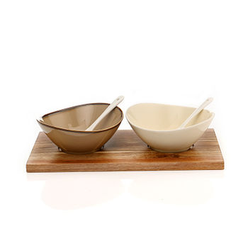 Set of 2: Multicolour Ceramic Appetizer Bowls