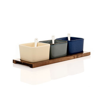 Set of 3 Multicolour Ceramic Dessert Bowls
