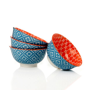 Set of 4: Orange and Blue Geometric Print Small Bowl
