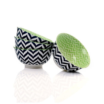 Set of 4: Blue and Green Chevron Print Small Bowl