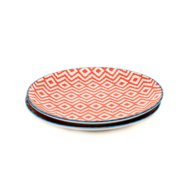 Set of 2: Blue and Red Geometric Print Dessert Plate