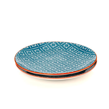 Set of 2: Orange and Blue Geometric Print Dessert Plate