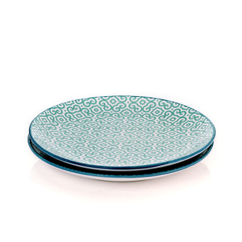 Set of 2: Blue and Green Moroccan Print Dessert Plate