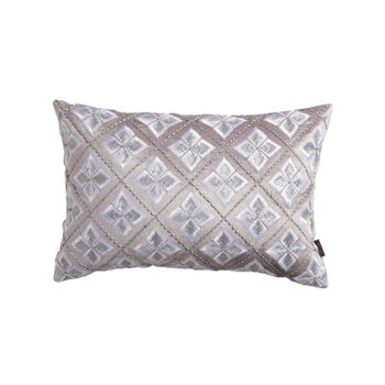 Silver Geometric Floral Cushion Cover