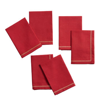 Set of 6: Red Napkins with Fern Embroidery