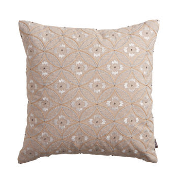 Floral Printed Taupe Cushion Cover