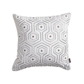 Ivory Hexagonal Motif Cushion Cover
