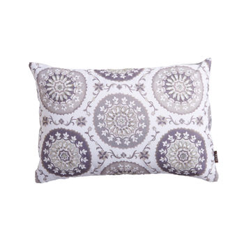 Ivory Foil Printed Mandala Cushion Cover
