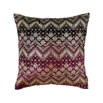 Purple and Gold Ethnic Foil Printed Cushion Cover