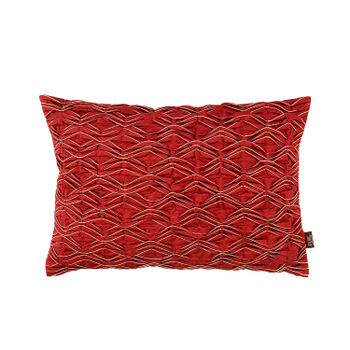 Red Pin-Tuck Pleated Cushion Cover