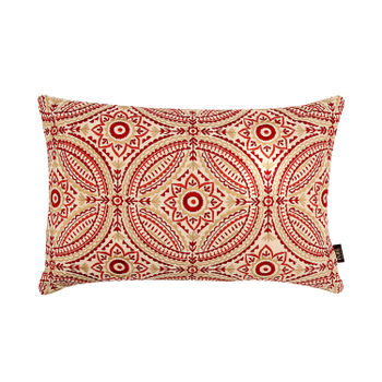 Red and Gold Foil Printed Cushion with Traditional Motif