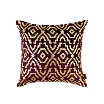 Purple Foil Printed Cushion with Geometric Motif