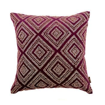Purple Cushion Cover with Rhombus Motif