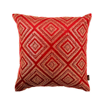 Red Cushion Cover with Rhombus Motif