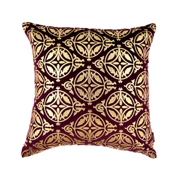 Purple Foil Printed Cushion with Mosaic Pattern