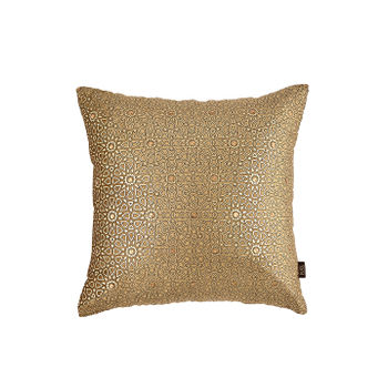 Beaded Golden Floral Printed Cushion Cover