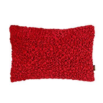 Red Smocked Velvet Cushion Cover
