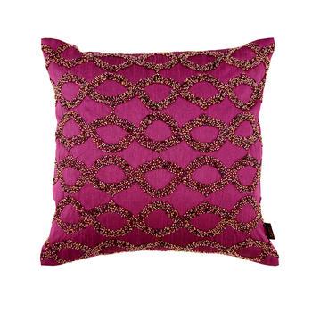 Beaded Purple Diamond Pattern Cushion Cover