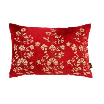 Floral Embroidered Red and Gold Cushion Cover