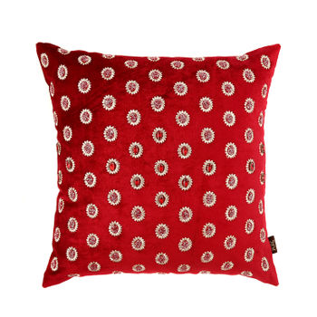 Red and Gold Beaded Cushion Cover