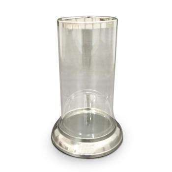 Large Glass Hurricane with Platinum Rim