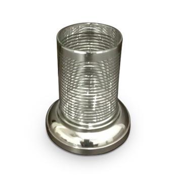 Small Glass Hurricane with Platinum Rim