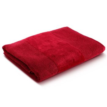 Red Combed Cotton Bath Towel