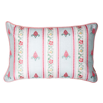 Floral Embroidered Cushion Cover with Pompoms