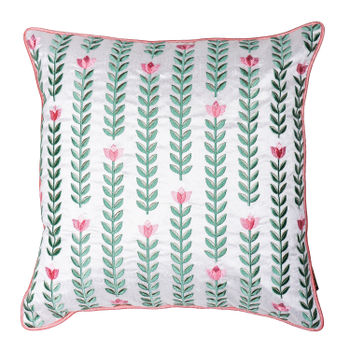 Linear Tulip Embroidered Cushion Cover