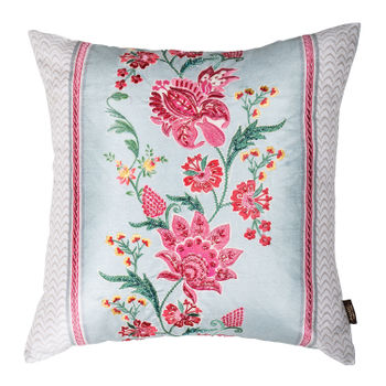 Embroidered Blooming Flowers Printed Cushion Cover