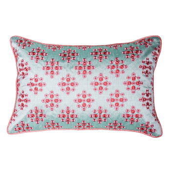 Pink Floral Embroidered Crosslay Cushion Cover