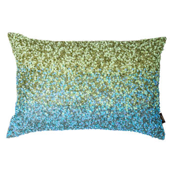 Ombre Blue and Green Luxury Sequin Cushion