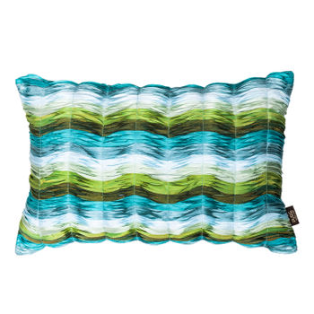Blue and Green Wavy Ruched Cushion Cover
