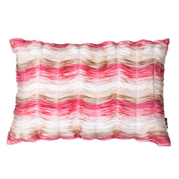 Pink and White Wavy Ruched Cushion Cover