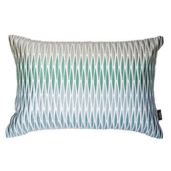 Blue and Green Cushion with Rhombus Pattern