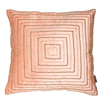 Pink Sequined Square Cushion Cover