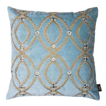 Aqua Blue Embroidered Spiral Design Cushion