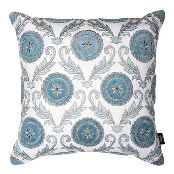 Blue Floral Applique Cushion Cover