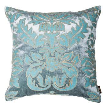Blue Floral Velvet Cushion Cover